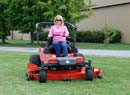 Mrs. Greengo riding ZD2872 Kubota mower