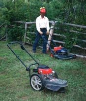 Photo with lawn mower and gas trimmer