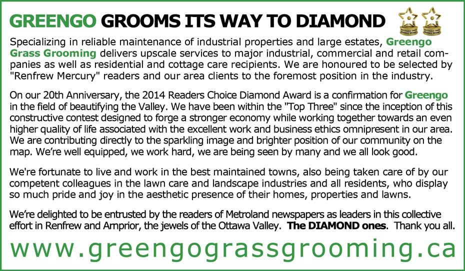 Greengo wins diamond trophy for lawn care in the Renfrew 2013 Readers Choice Awards