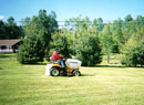 Cutting lawn with a Cub Cadet lawn tractor