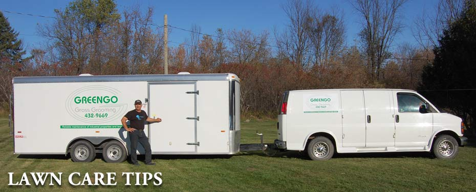 Photo of owner Andrew kasprzak with the Greengo Grass Grooming van and enclosed trailer